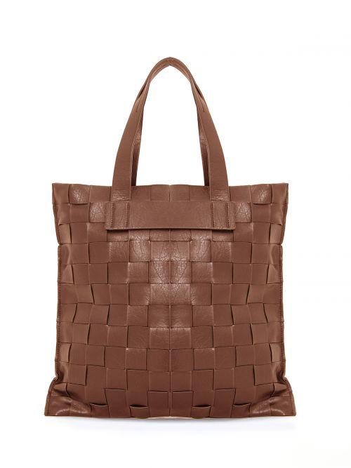 Shopper bag in brown weave