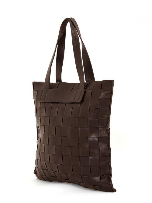 Shopper bag in coffee weave