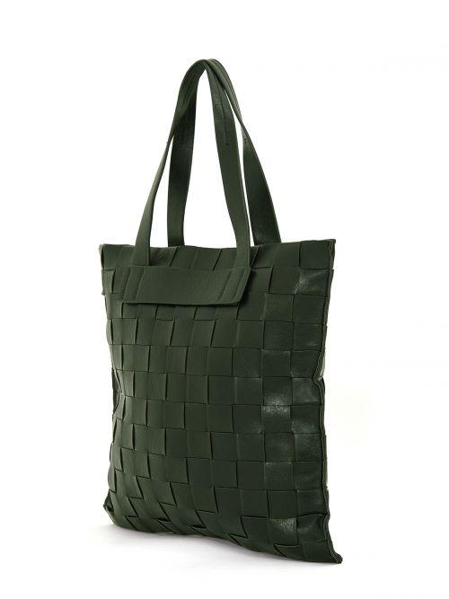 Shopper bag in green weave