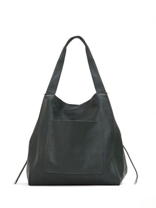 Leather shopper bag with pocket