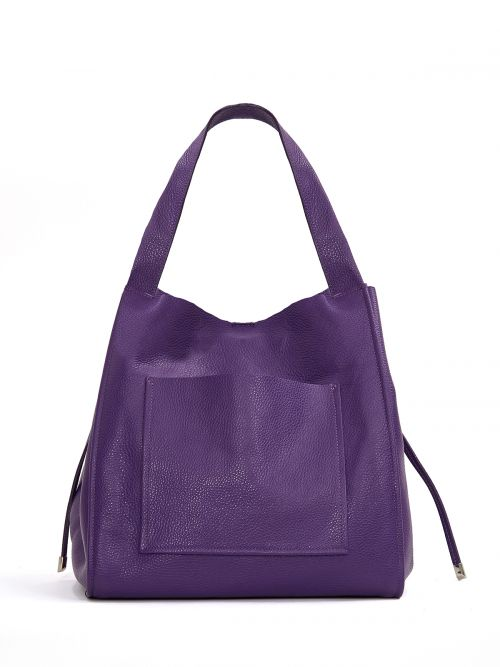 Τσάντα shopper δερμάτινη με τσέπη