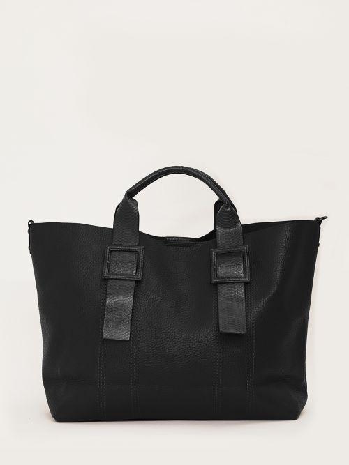 Τσάντα shopper με snakeskin χειρολαβές