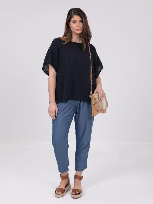 Short-sleeve boat-neck jumper in blue