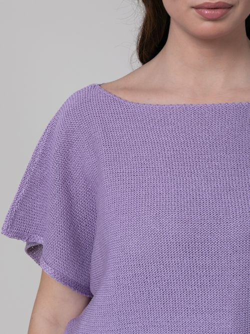 Πλεκτή μπλούζα λαιμόκοψη-χαμόγελο λιλά