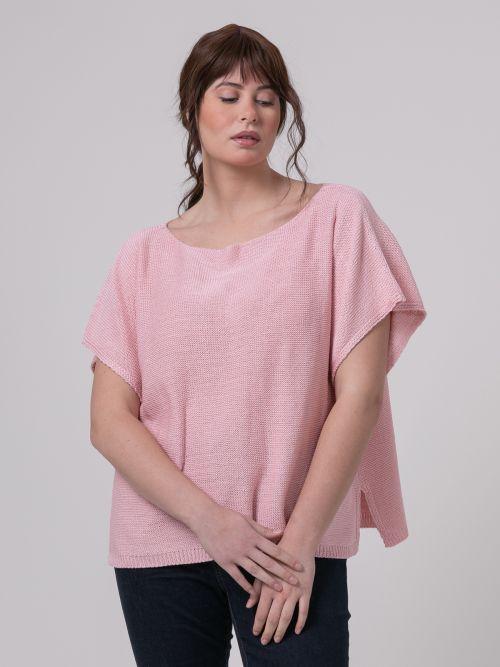 Πλεκτή μπλούζα λαιμόκοψη-χαμόγελο ροζ