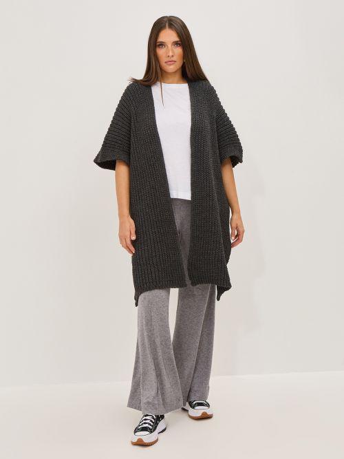 Short-sleeve cardigan in chunky knit