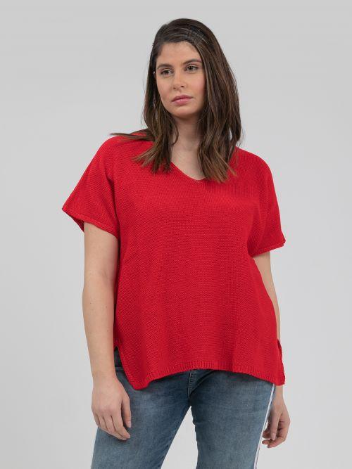 Short-sleeve V-neck jumper in red