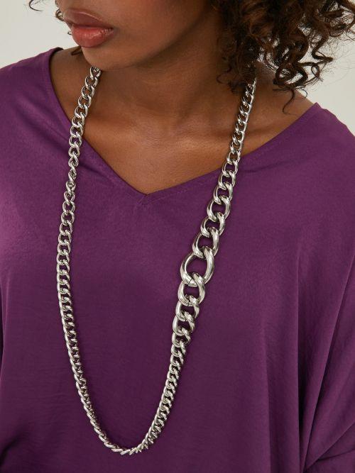 Silver-tone chain belt