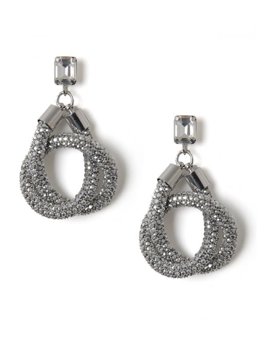 Silver-tone earrings with strass