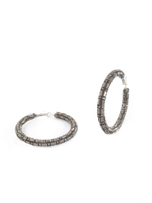 Strass detailed hoop earrings
