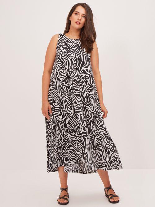Sleeveless maxi dress in zebra print