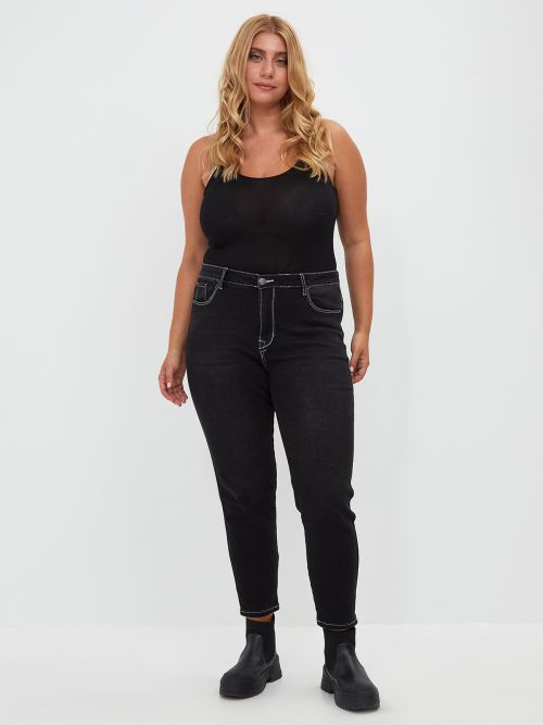Slim contrast seam jeans in washed black