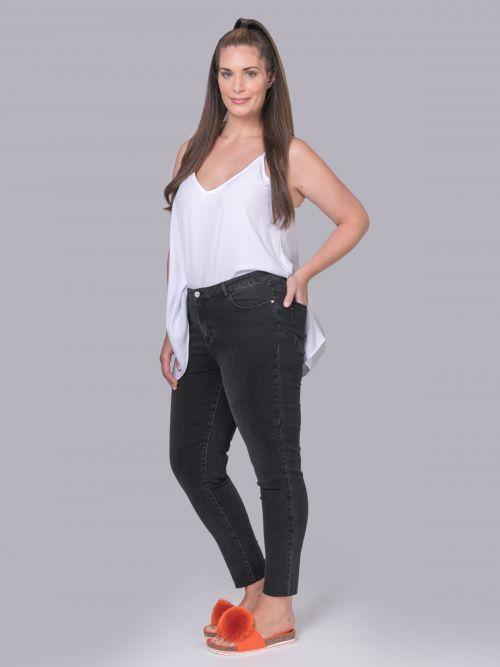 Slim-leg jeans in washed black denim