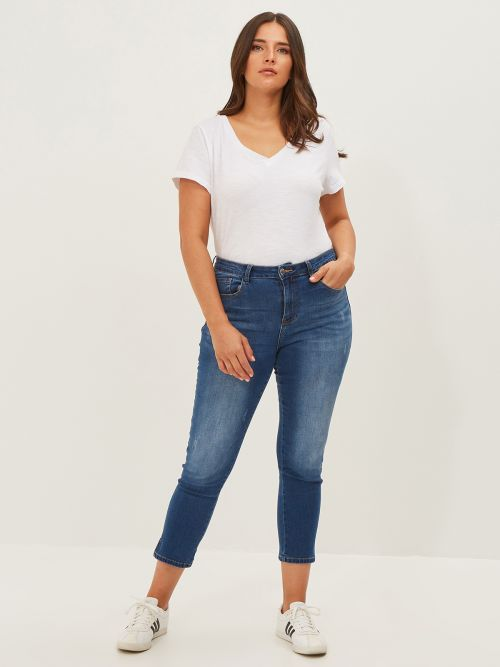 Slim-leg jeans in washed blue denim