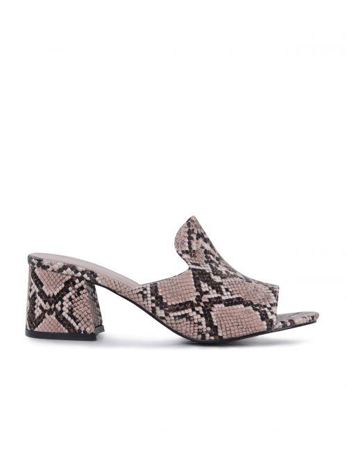 Snakeskin mules με τακούνι