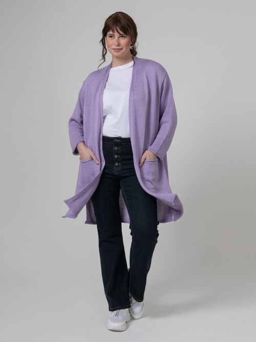 Soft-knit cardigan with pockets in lilac