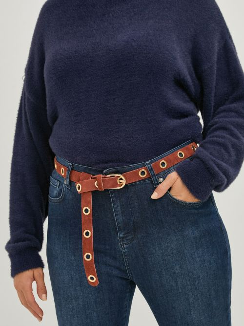 Suede leather belt with eyelets