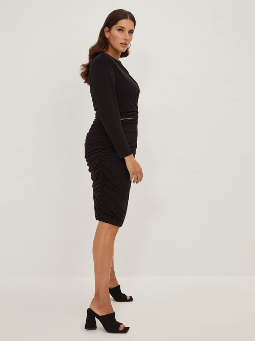 Super elastic midi dress with cut out detail