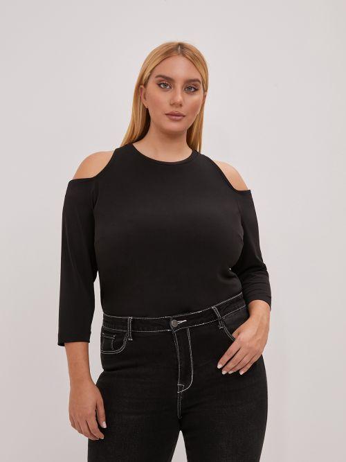 Super elastic top with cut out shoulders