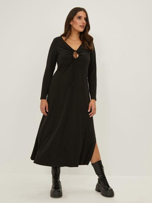 Super elastic V neck dress with cut out detail