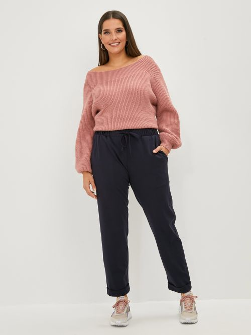 Tapered leg viscose trousers with ties