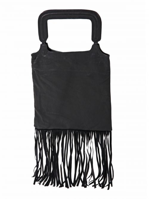 Leather shopper bag with fringes