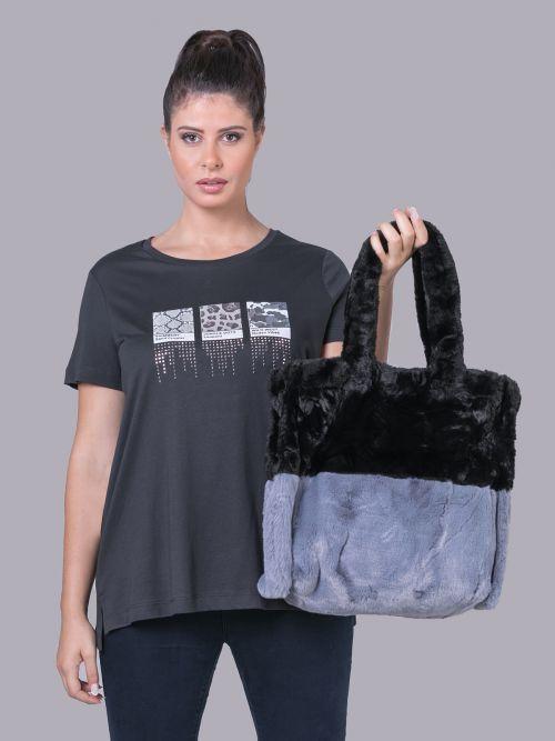 Faux fur shopper bag