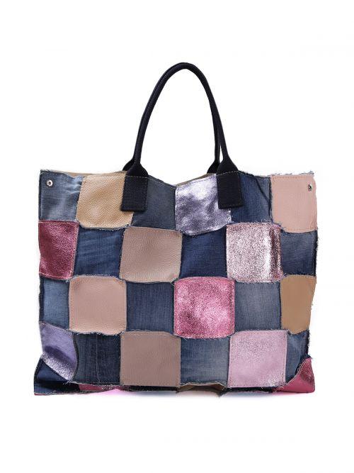 Τσάντα shopper patchwork