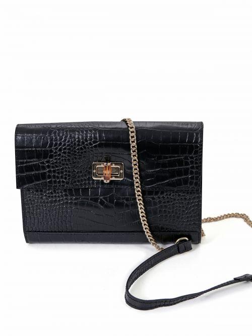 Κροκό τσάντα clutch με αλυσίδα