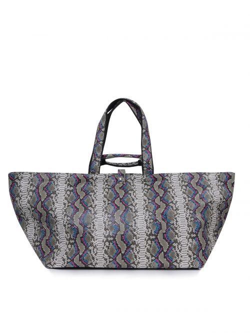 Shopper bag in snake print