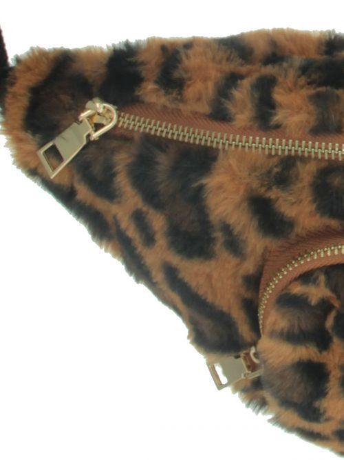 Faux fur belt bag in leopard print