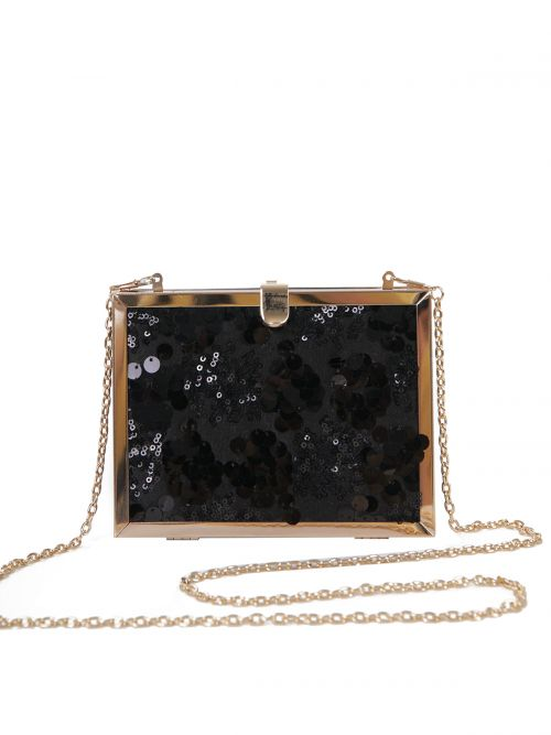 Sequin-detailed box clutch bag