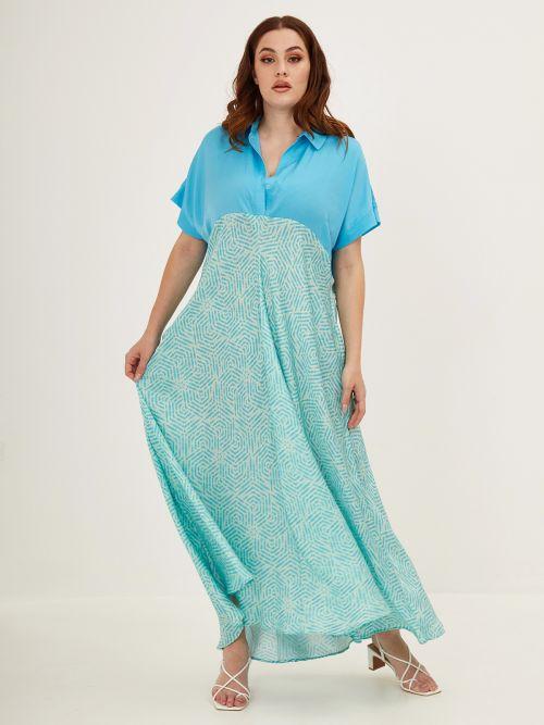 Two-tone printed dress