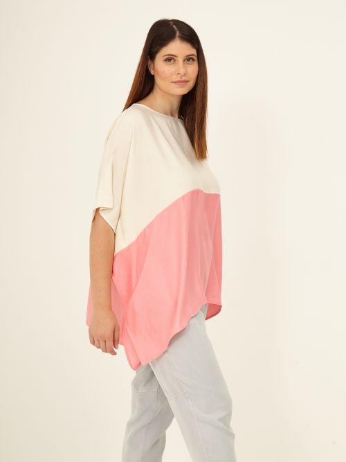 Two-tone satin blouse
