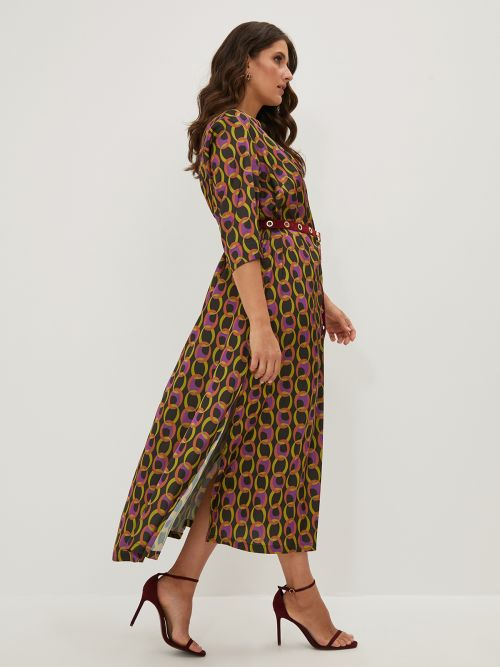 V-neck side split dress in colorful print