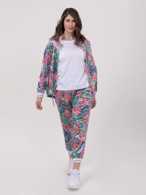 Velour joggers in floral print