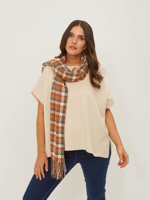 Viscose checked scarf
