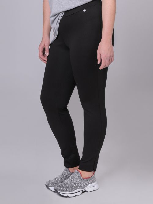 Viscose leggings with zipped hem
