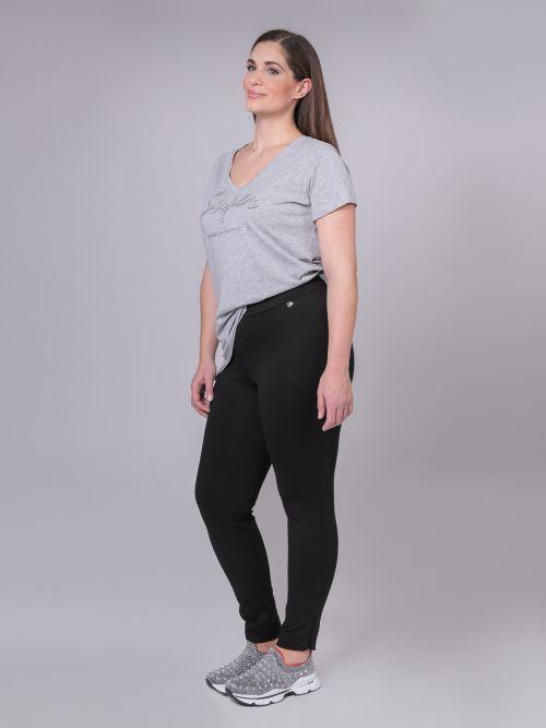 Viscose leggings with zipped hem