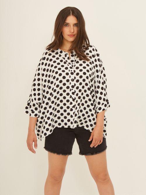 Viscose shirt in polka dot print