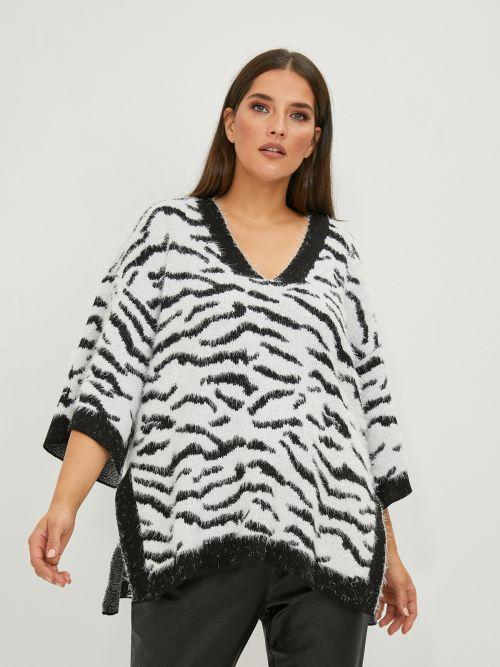 Wide-sleeve V-neck zebra jumper