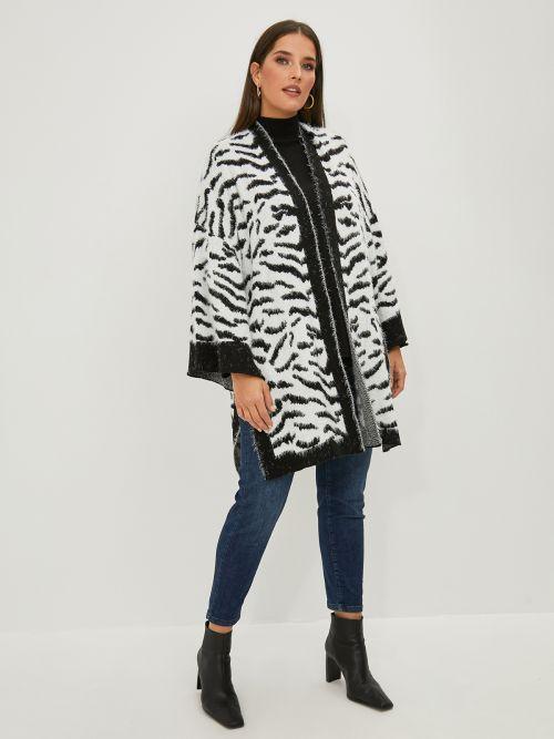 Wide-sleeve zebra cardigan