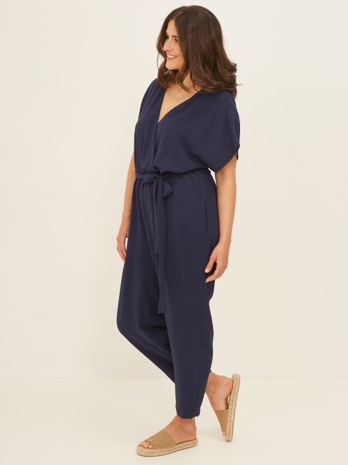 Wrap jumpsuit with ties