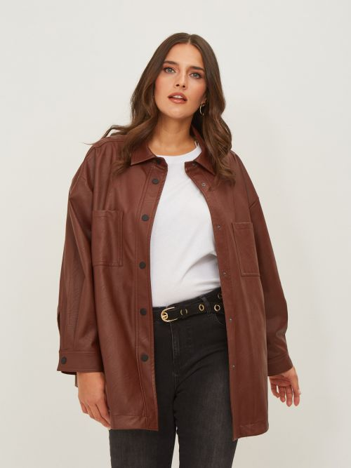 Long leather-like shirt