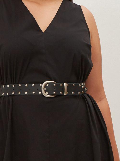 Black leather studded belt